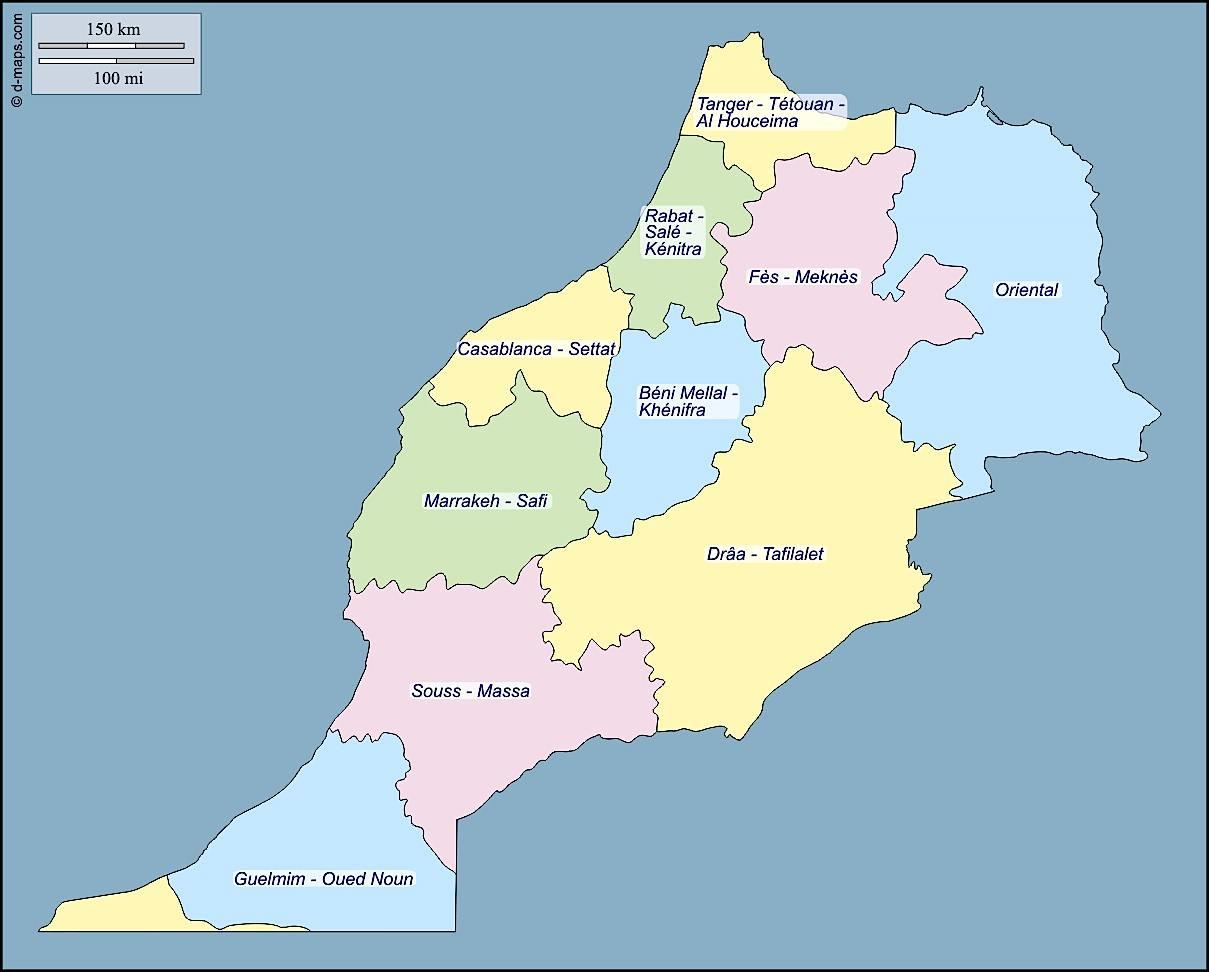 Carte du Maroc, nouveau découpage des Régions (2014).
